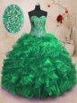 Classical Sweetheart Sleeveless Sweep Train Lace Up Ball Gown Prom Dress Green Organza