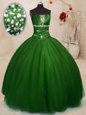 Glorious Green Organza Lace Up Quinceanera Gown Sleeveless Floor Length Beading and Ruffles