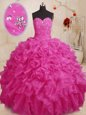 Artistic Floor Length Hot Pink Ball Gown Prom Dress Organza Sleeveless Beading and Ruffles