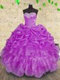 Best Selling Ball Gowns Sweet 16 Dresses Purple Sweetheart Organza Sleeveless Floor Length Lace Up