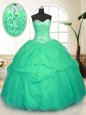 Sweet Floor Length Blue Quinceanera Gown Sweetheart Sleeveless Lace Up