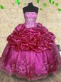 Sweet Fuchsia Sweet 16 Dresses Military Ball and Sweet 16 and Quinceanera and For with Beading and Embroidery and Pick Ups Strapless Sleeveless Lace Up