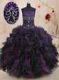 Organza Sweetheart Sleeveless Lace Up Beading and Ruffles Sweet 16 Quinceanera Dress in Lavender