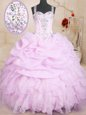 Lilac Lace Up Quinceanera Dresses Beading and Ruffles and Pick Ups Sleeveless Floor Length
