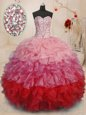 Attractive Sweetheart Sleeveless Organza Sweet 16 Dress Beading and Ruffles Lace Up