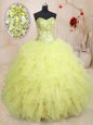 Amazing Light Yellow Lace Up Vestidos de Quinceanera Beading and Ruffles Sleeveless Floor Length