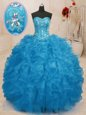 Elegant Baby Blue Lace Up Vestidos de Quinceanera Beading and Ruffles Sleeveless Floor Length