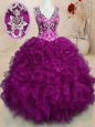 Suitable Fuchsia Ball Gowns Beading and Embroidery and Ruffles Ball Gown Prom Dress Backless Organza Sleeveless Floor Length