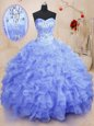 Top Selling Multi-color Sleeveless Floor Length Beading and Ruffles Lace Up Ball Gown Prom Dress