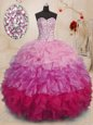 Ball Gowns Sweet 16 Quinceanera Dress Hot Pink Sweetheart Organza Sleeveless Floor Length Lace Up