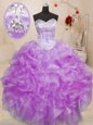 Lilac Sleeveless Floor Length Beading and Ruffles Lace Up 15th Birthday Dress