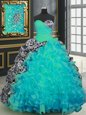 Edgy Aqua Blue Organza and Printed Lace Up Sweetheart Sleeveless With Train Quinceanera Dresses Brush Train Beading and Ruffles and Pattern