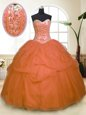 High End Orange Zipper Sweetheart Sequins and Pick Ups Quince Ball Gowns Tulle Sleeveless