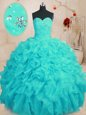 Aqua Blue Organza Lace Up Quinceanera Gowns Sleeveless Floor Length Beading and Ruffles