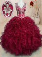 Hot Selling Wine Red Sweet 16 Quinceanera Dress Military Ball and Sweet 16 and Quinceanera and For with Beading and Embroidery and Ruffles V-neck Sleeveless Zipper