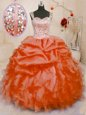 Sleeveless Organza Floor Length Lace Up Quinceanera Dress in Orange Red for with Beading and Ruffles and Pick Ups