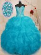 Orange Ball Gowns Beading and Ruffles 15 Quinceanera Dress Lace Up Organza Sleeveless Floor Length