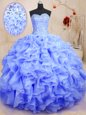 Sweetheart Sleeveless 15th Birthday Dress Floor Length Beading and Ruffles Lavender Organza