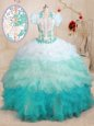 Lovely Beading and Appliques and Ruffles Sweet 16 Dresses Multi-color Lace Up Sleeveless With Brush Train