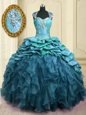 Teal Sweetheart Neckline Beading and Ruffles and Pick Ups Ball Gown Prom Dress Cap Sleeves Lace Up