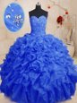 Decent Sweetheart Sleeveless Ball Gown Prom Dress Floor Length Beading and Ruffles Multi-color Organza