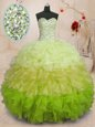 Exquisite Sleeveless Beading and Ruffles Lace Up 15th Birthday Dress
