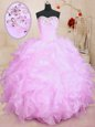 Top Selling Organza Sweetheart Sleeveless Lace Up Beading and Ruffles Quinceanera Dresses in Watermelon Red
