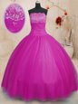 Romantic Strapless Sleeveless Lace Up Quince Ball Gowns Dark Purple Tulle