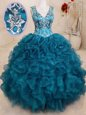 V-neck Sleeveless Backless 15th Birthday Dress Teal Organza