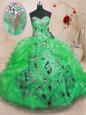 Attractive Ball Gowns Ball Gown Prom Dress Green Sweetheart Organza Sleeveless Floor Length Zipper