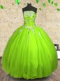 Floor Length Sweet 16 Dress Tulle Sleeveless Appliques and Ruching