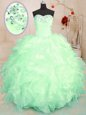 Enchanting Ball Gowns Organza Sweetheart Sleeveless Beading and Ruffles Floor Length Lace Up Quinceanera Gown
