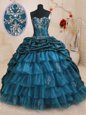 Sleeveless Sweep Train Lace Up With Train Beading and Appliques and Ruffled Layers and Pick Ups Sweet 16 Quinceanera Dress