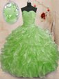 Lace Up Sweetheart Beading and Ruffles Vestidos de Quinceanera Organza Sleeveless