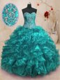 Vintage Beading and Ruffles Quinceanera Gowns Teal Lace Up Sleeveless With Train Sweep Train