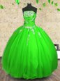 Strapless Neckline Appliques Quinceanera Gowns Sleeveless Lace Up