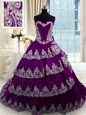 Trendy Ruffled Purple Sleeveless Taffeta Court Train Lace Up 15 Quinceanera Dress for Military Ball and Sweet 16 and Quinceanera