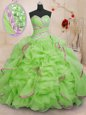 Hot Selling Ball Gowns Organza Sweetheart Sleeveless Beading and Ruffles With Train Lace Up Sweet 16 Dresses Brush Train
