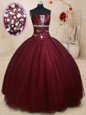 Charming Strapless Sleeveless 15 Quinceanera Dress Floor Length Beading Royal Blue Tulle