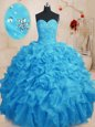 Clearance Organza Sweetheart Sleeveless Lace Up Beading and Ruffles Sweet 16 Dresses in Baby Blue