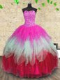 Multi-color Tulle Lace Up Vestidos de Quinceanera Sleeveless Floor Length Beading and Ruffles and Ruffled Layers