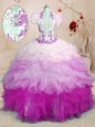 Noble Ball Gowns Organza Sweetheart Sleeveless Beading and Ruffles and Hand Made Flower Floor Length Lace Up Quinceanera Gowns