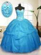 Romantic Baby Blue Vestidos de Quinceanera Military Ball and Sweet 16 and Quinceanera and For with Sequins and Pick Ups Sweetheart Sleeveless Lace Up