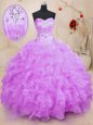 Sleeveless Brush Train Beading and Appliques Lace Up Sweet 16 Quinceanera Dress