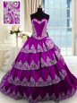 Eggplant Purple Sleeveless Beading and Appliques and Ruffled Layers With Train Sweet 16 Dresses