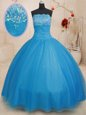 Baby Blue Strapless Lace Up Beading Quinceanera Dresses Sleeveless