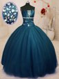 Popular Multi-color Tulle Lace Up Quinceanera Gowns Sleeveless Floor Length Beading and Ruffles and Sequins