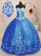 Unique Blue Ball Gowns Beading and Appliques Sweet 16 Quinceanera Dress Lace Up Tulle Sleeveless Floor Length