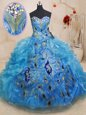 Floor Length Baby Blue Quinceanera Gown Organza Sleeveless Beading and Appliques and Ruffles