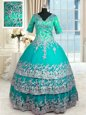 Fantastic Satin V-neck Half Sleeves Zipper Beading and Lace and Appliques and Ruffled Layers Sweet 16 Dress in Turquoise